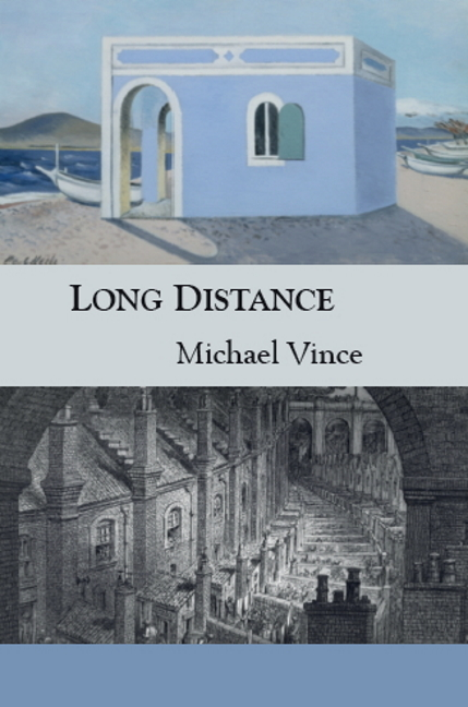 image of Long Distance book cover with Blue House by the Shore and Doré's Railway Cutting