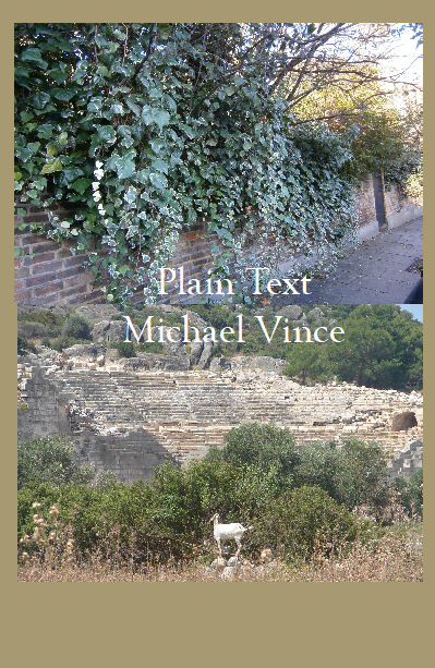 picture of Plain Text book cover with wall covered in ivy and Greek amphitheatre with goat